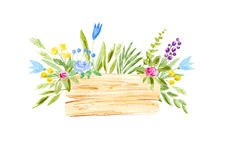 Wood slice and flower wreath.Cross section tree. Watercolor hand drawn illustration.White background Stock Image