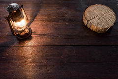 Wood slice and lamp Royalty Free Stock Image