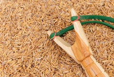 Wood slingshot catapult. And hands daytime Royalty Free Stock Photography