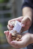 Wood Smoking chips for grilling. In hand Royalty Free Stock Photography