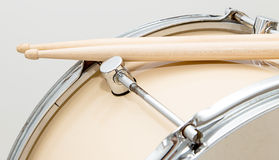 Wood snare drum and drumsticks isolated Stock Photos