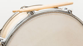 Wood snare drum and drumsticks isolated Stock Image