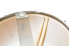 Wood snare drum and drumsticks isolated Stock Photo