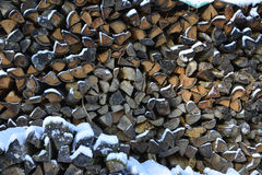 Wood with snow Royalty Free Stock Image