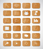 Wood social button Royalty Free Stock Images
