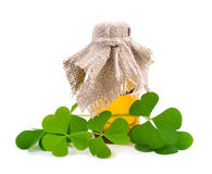 Wood-sorrel leawes with pharmaceutical bottle. Stock Photos