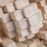 Wood sound diffuser. Detail of wood geometric panel sound diffuser royalty free stock images