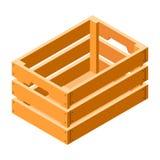 Wood spjällådasymbol, isometrisk stil vektor illustrationer