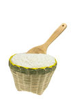 Wood spoon and bamboo basket Royalty Free Stock Photos