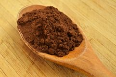 Wood spoon and cocoa powder Royalty Free Stock Image