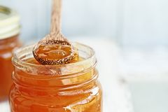 Wood Spoon of Cantaloupe Jam Resting on Jar. Front View of the tip of a wooden spoon full of homemade Cantaloupe Jam resting on an open jar filled with jam stock photography