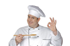 Wood spoon chef. Royalty Free Stock Image