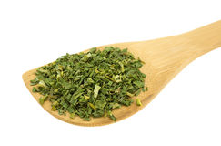 Wood spoon with chopped chives Royalty Free Stock Photo