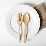 Wood spoon and fork with dish Stock Images