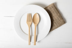 Wood spoon and fork with dish Stock Photography