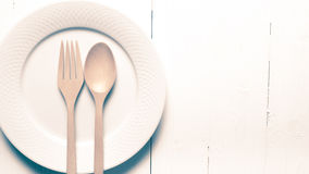 Wood spoon and fork with dish vintage style Stock Photography