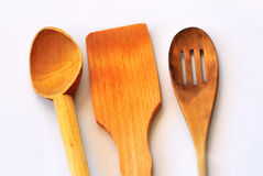 Wood spoon fork and spatula Royalty Free Stock Images