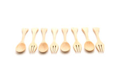 wood spoon and fork Royalty Free Stock Images