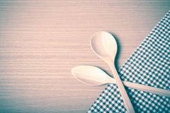 Wood spoon and kitchen towel vintage style Royalty Free Stock Photography