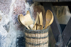 Wood Spoon and Pestle Collection on rustic background. Royalty Free Stock Image