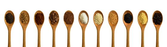 Wood spoon and various spices stock image