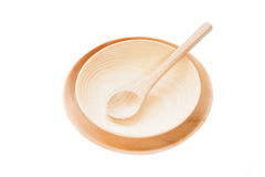 Wood spoon and wood plate Royalty Free Stock Photography