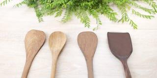 Wood spoon wood Turner on white wood background Royalty Free Stock Photos