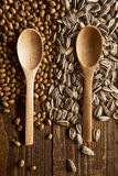 Wood spoons and grains Royalty Free Stock Image