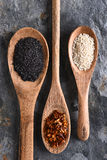 Wood Spoons With Spices Royalty Free Stock Photos