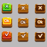 Wood square buttons for game , OK,Yes, close Stock Photo