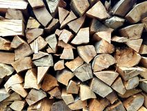 Wood. Stack of chopped wood, in a traditional Romanian mountain house Stock Images