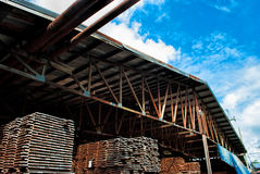 Wood stack. In the factory Stock Photo