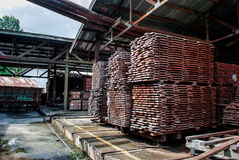 Wood stack. In the factory Royalty Free Stock Image