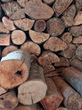 Wood stack. Lumber for heating and barbecue Stock Photography