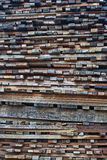 Wood stack. Many kind of wood stacking in the factory Stock Photography