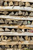 Wood stack of neatly piled firewood in the stack of crates for d. Rying firewood, firewood, raw material, wood rental Stock Photography