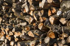 Wood stack of neatly stacked firewood and small wood to dry for. Firewood, firewood, raw material, wood rental with selective focus Stock Image
