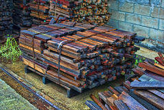 Wood stack. After rain in the factory Royalty Free Stock Images