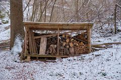 Wood stack after snow stock photography