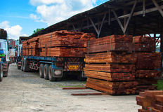 Wood stack. In the truck Royalty Free Stock Images