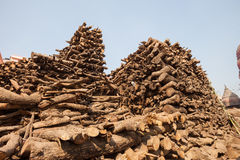 Wood stacked for burning at Manikarnika Ghat Royalty Free Stock Images