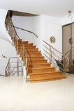 Wood stair. With metal banister in interior Royalty Free Stock Photos