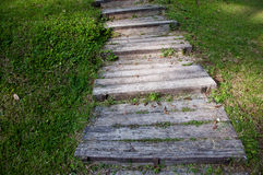 Wood stair. Wooden steps or stair on small hill Royalty Free Stock Photography