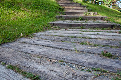 Wood stair. Wooden steps or stair on small hill Stock Photos