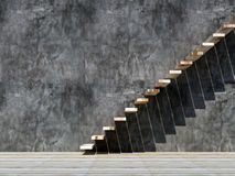 Wood stair and concrete wall Stock Photography