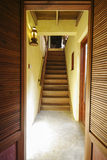 Wood stair to the room Royalty Free Stock Images
