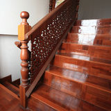 Wood staircase with parquet floor Royalty Free Stock Photos