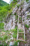 Wood stairs in the mountains Stock Image