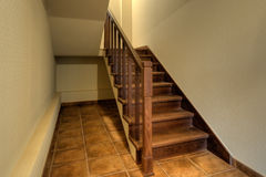 Wood stairs in new home Stock Photography