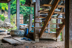 The Wood Stairs/ Wooden stair of traditional house royalty free stock photo